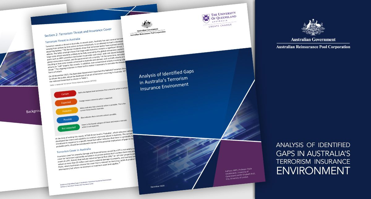 Professor Paula Jarzabkowski and Dr Elisabeth Krull have co-authored a report on terrorism insurance gaps in Australia